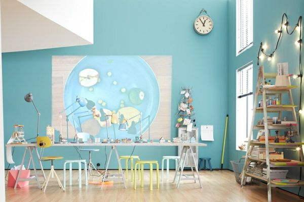 Pastell Wandfarben im Office oder Wohnzimmer - schöne Umgebung - schne wandfarben