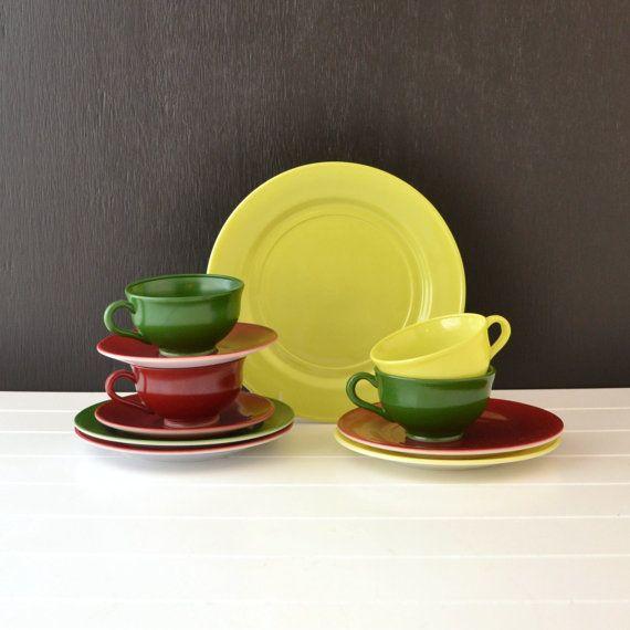Hazel Atlas Vintage Dinnerware - Ovide Pattern - Maroon Chartreuse Dark Green - Replacement & Hazel Atlas Vintage Dinnerware - Ovide Pattern - Maroon Chartreuse ...