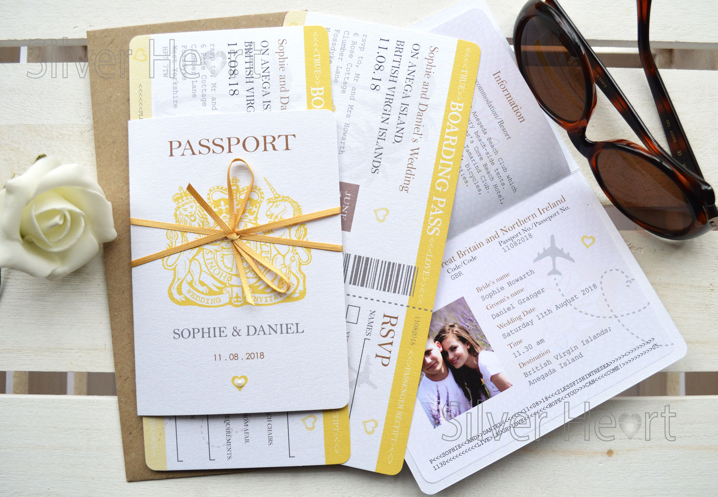 Passport Wedding Invitations with DIY Bow and Boarding Pass RSVP ...