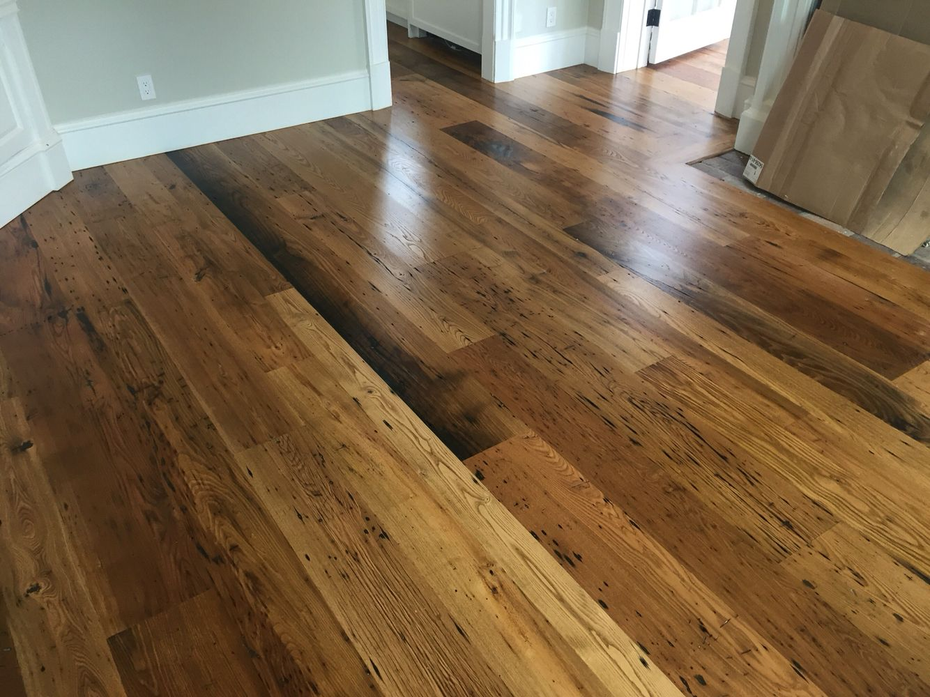 amazing chestnut hardwood flooring living room | Locally milled wide plank reclaimed chestnut flooring ...