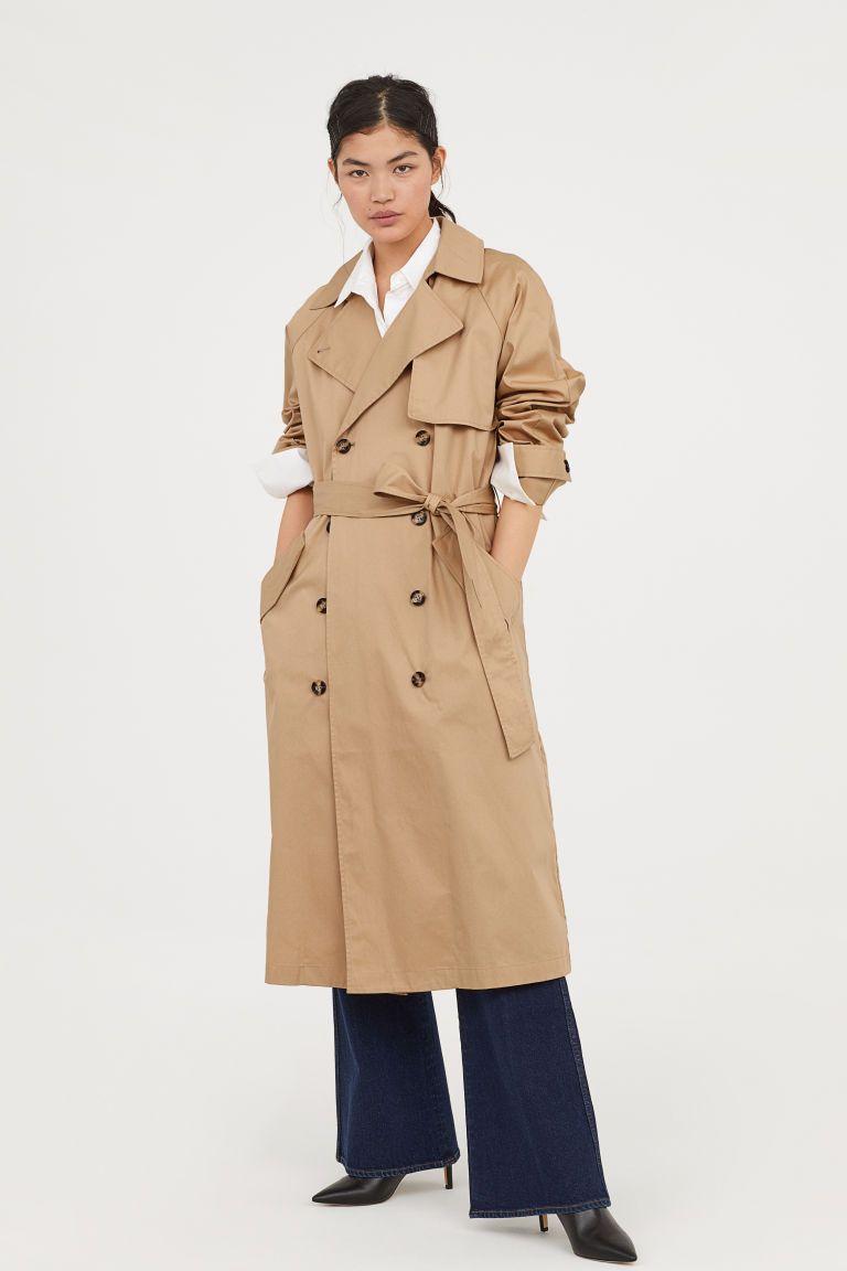 Long Trenchcoat Beige Ladies H M Us Coat Dress Trench Coat Coat