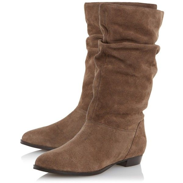 3b6c733fd Dune Relissa Suede Slouch Calf Boot, Taupe ($79) ❤ liked on Polyvore  featuring