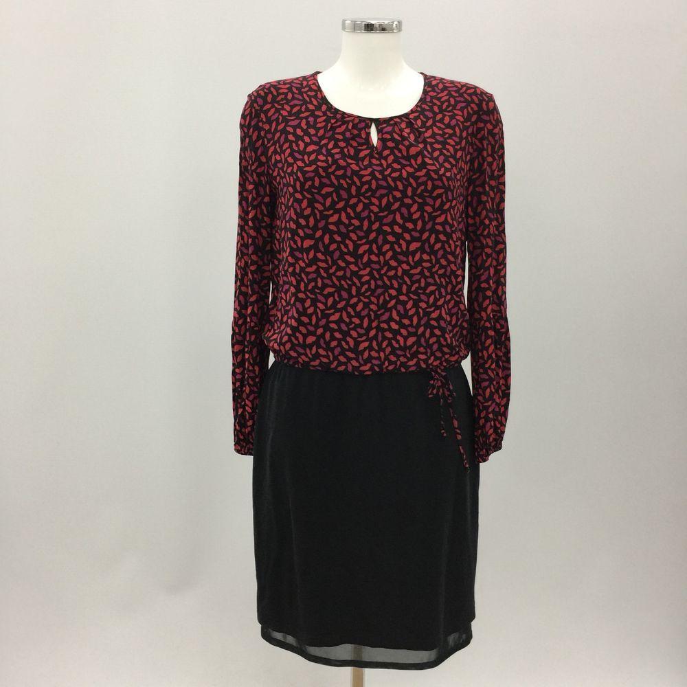 Gerry Weber Red Pink Black Lip Print Smart Shift Dress Womens Size