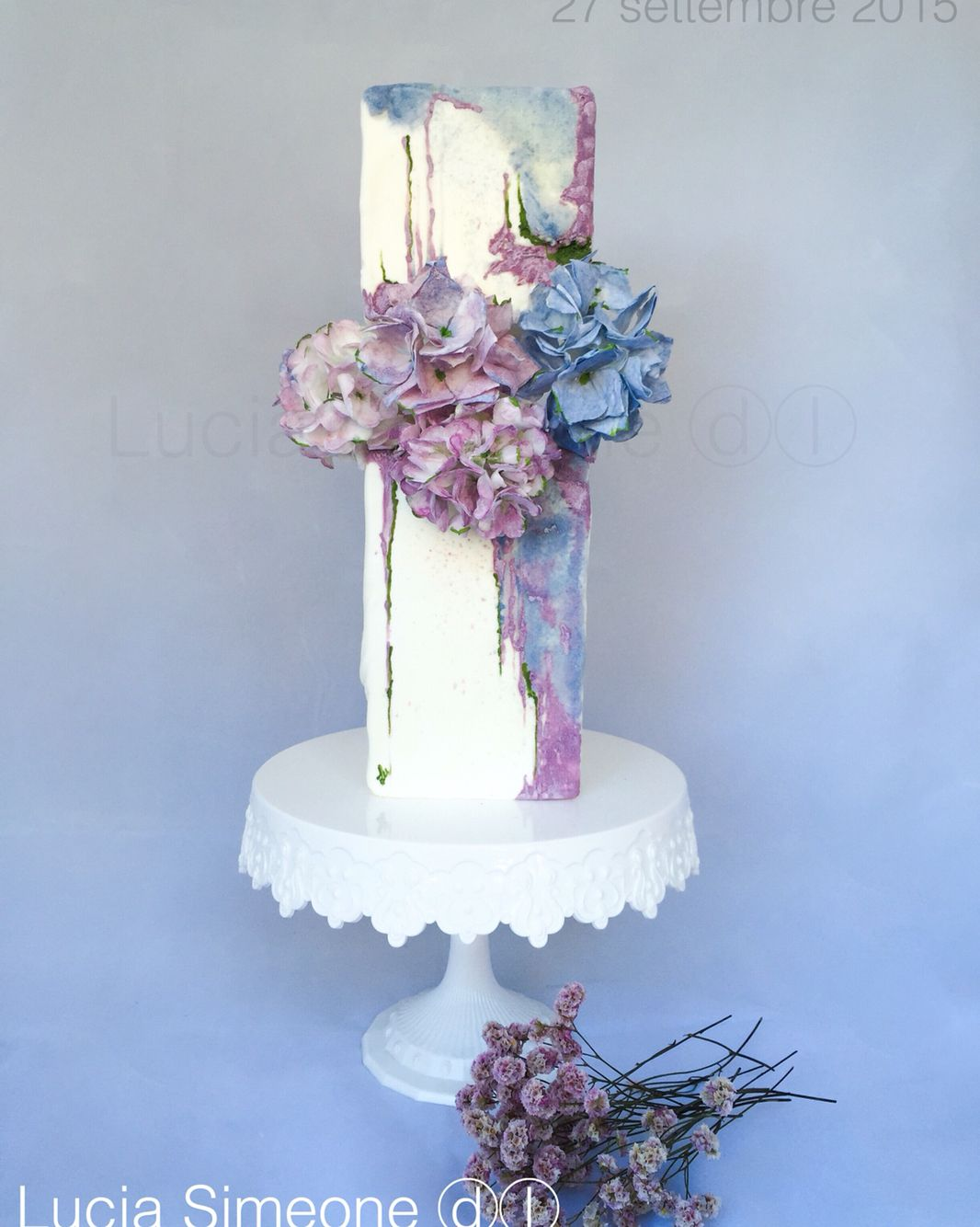 Ortensie wedding cake painted wafer paper flowers di lucia simeone