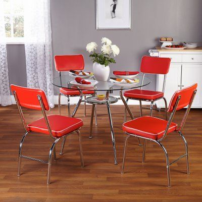 Beau TMS 5pc Mabel Retro Dining Set Red   12615RED