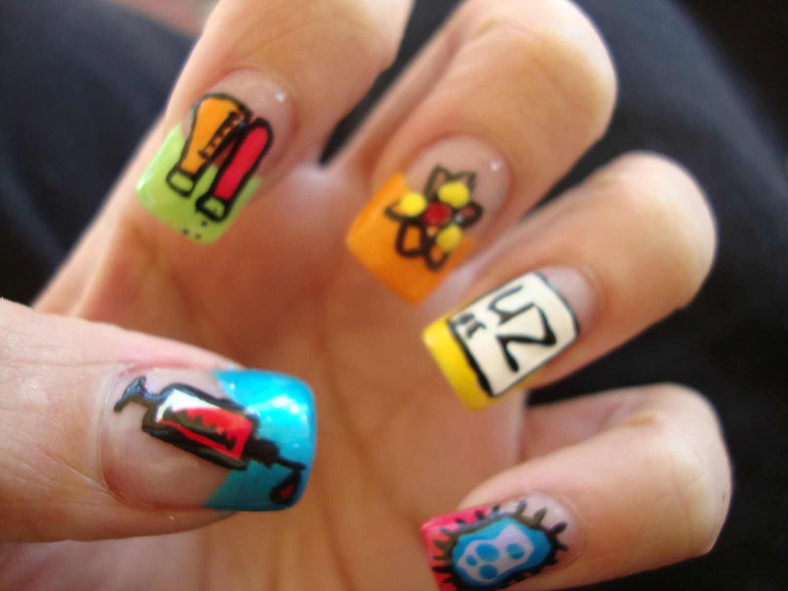 Hot Designs Nail Art Ideas 65 lovely summer nail art ideas Science Nails Geeky Lil Scientist Lady I Bring You The Science Of Cartoon Nail Designshot