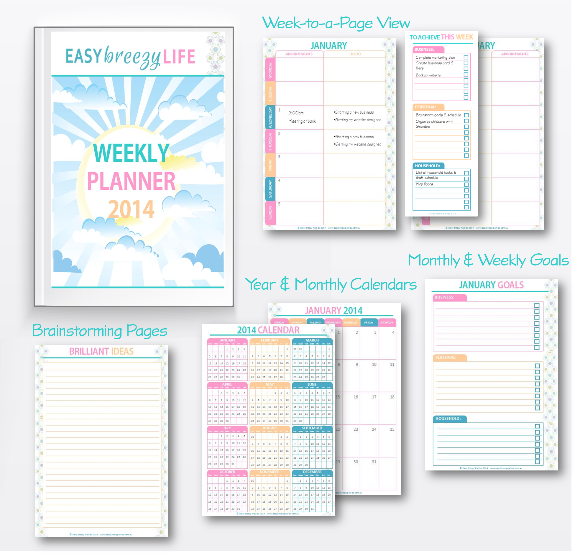 Free Printable Planner for 2014 Includes yearly and monthly