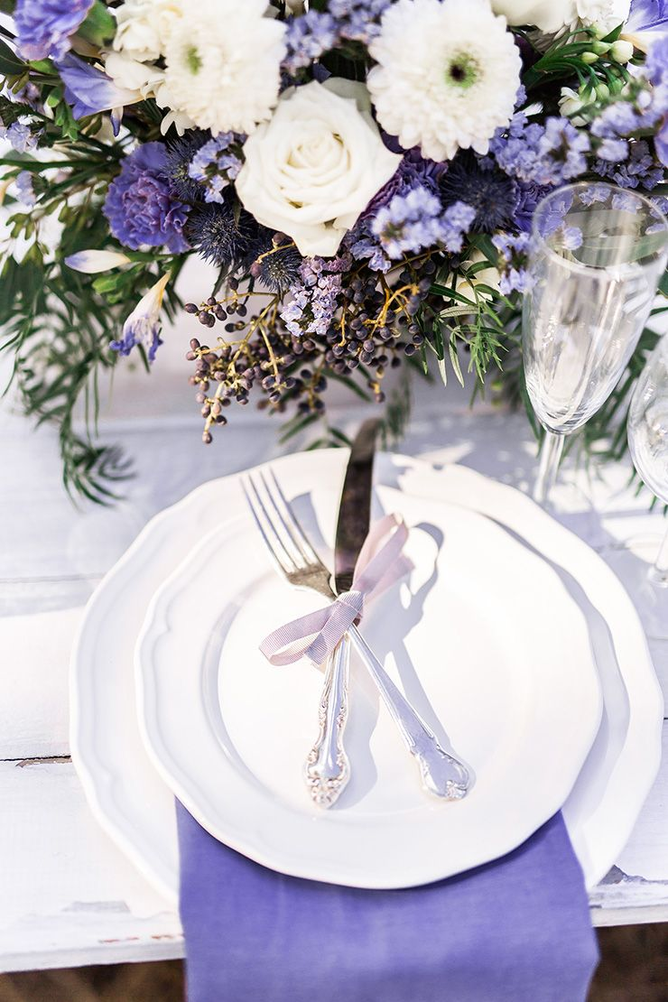 Purple, white and silver wedding reception styling   Twig + Fawn