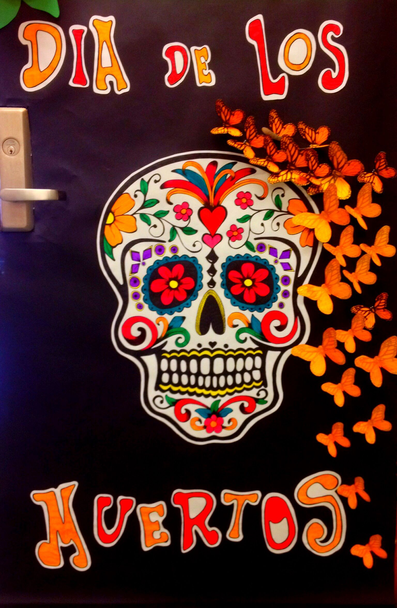 Door decorations for spanish class - Day Of The Dead Door Decoration Ap Spanishspanish Classmexican