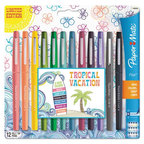 Flair Tropical Vacation Pen, Assorted Colors, Medium, 12/Pack - Snap Supplies