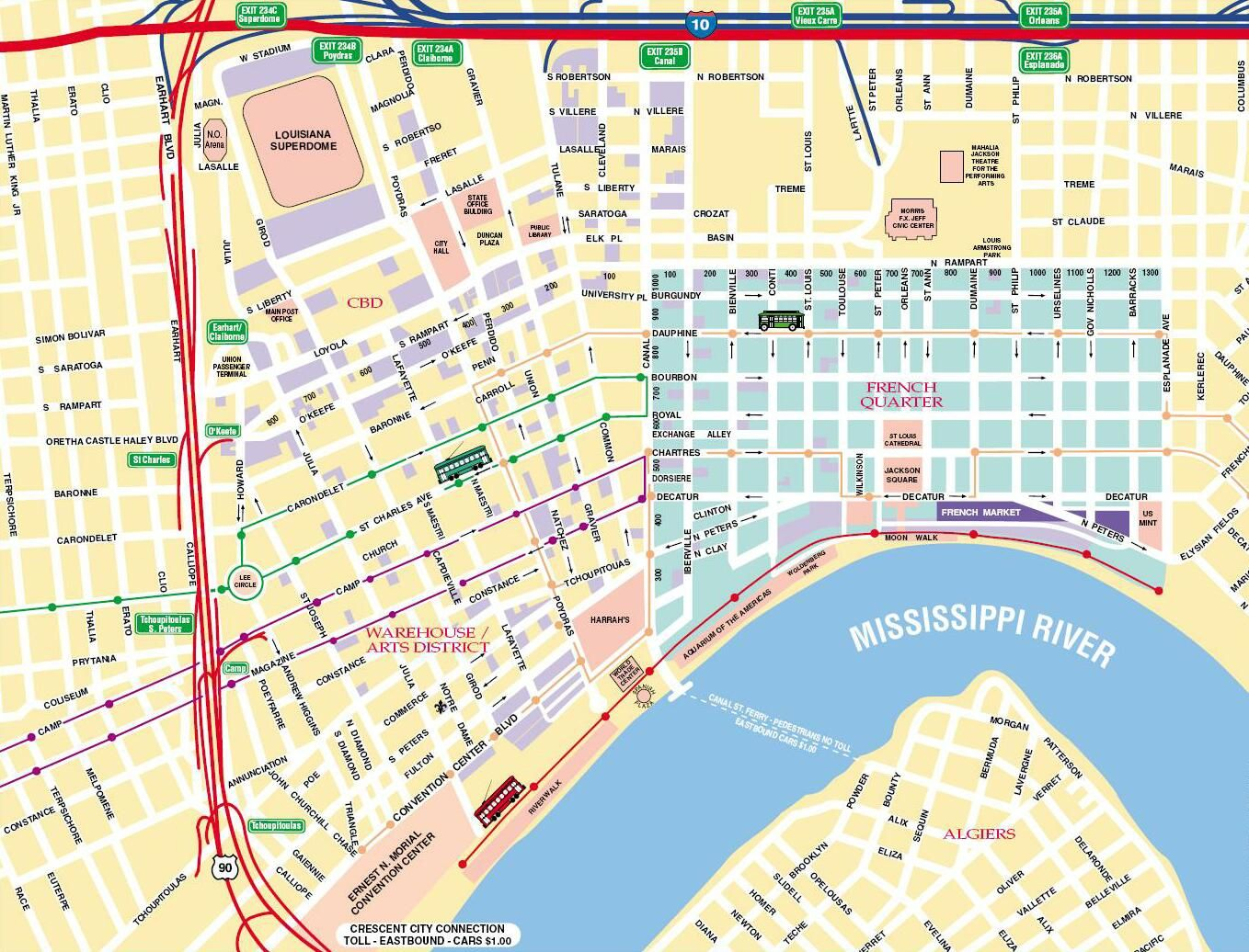 map of new orleans – New Orleans French Quarter Tourist Map