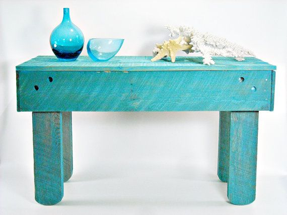 Rustic Reclaimed Painted Wood Coffee Table Turquoise