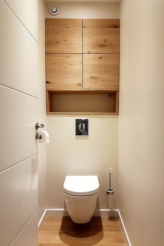 Idée décoration Salle de bain - wc avec placards en bois ...