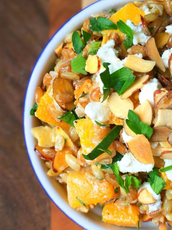 Butternut Squash and Grain Salad with Toasted Almonds and Goat Cheese - The Lemon Bowl