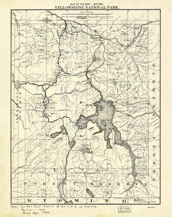 Yellowstone National Park Map of Tourist Routes Map Print Vintage