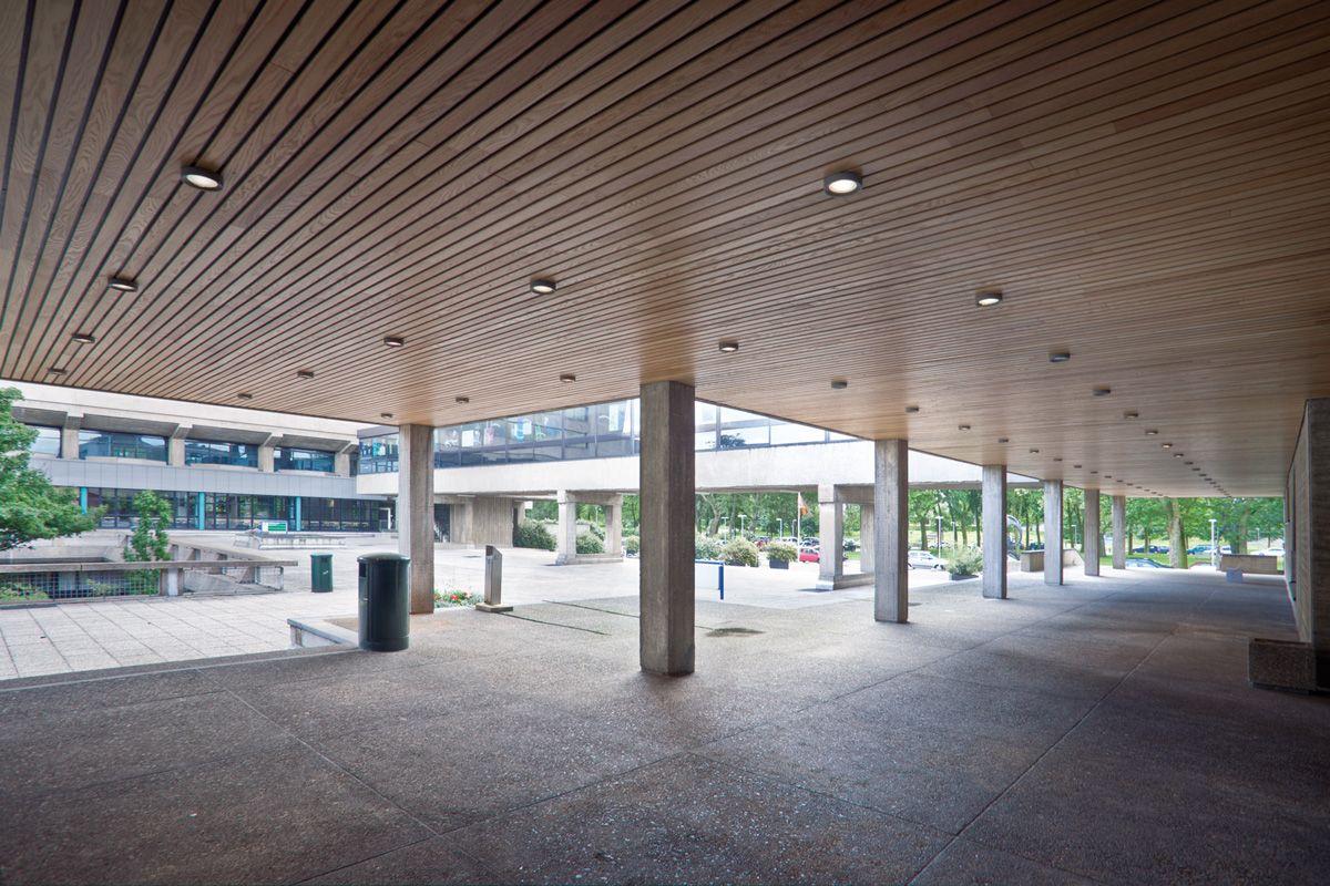 Wood Linear ceiling outside. Erasmus Universiteit. Architect: 1970 Elffers, van der Heyden en Hoogeveen