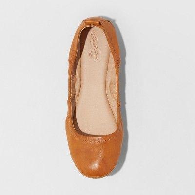 a344b926a24 Women s Delaney Wide Width Round Toe Ballet Flats - Universal Thread Cognac  (Red) 8W