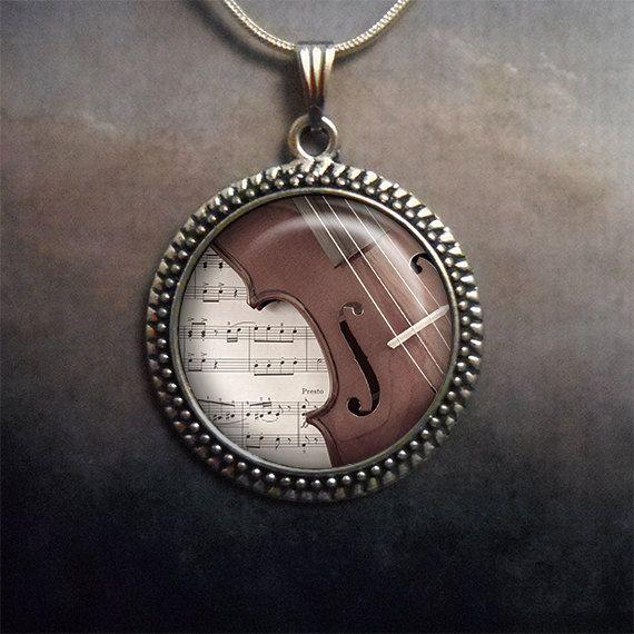 Music & Violin glass pendant, music teacher gift music necklace charm musicians gift violin pendant