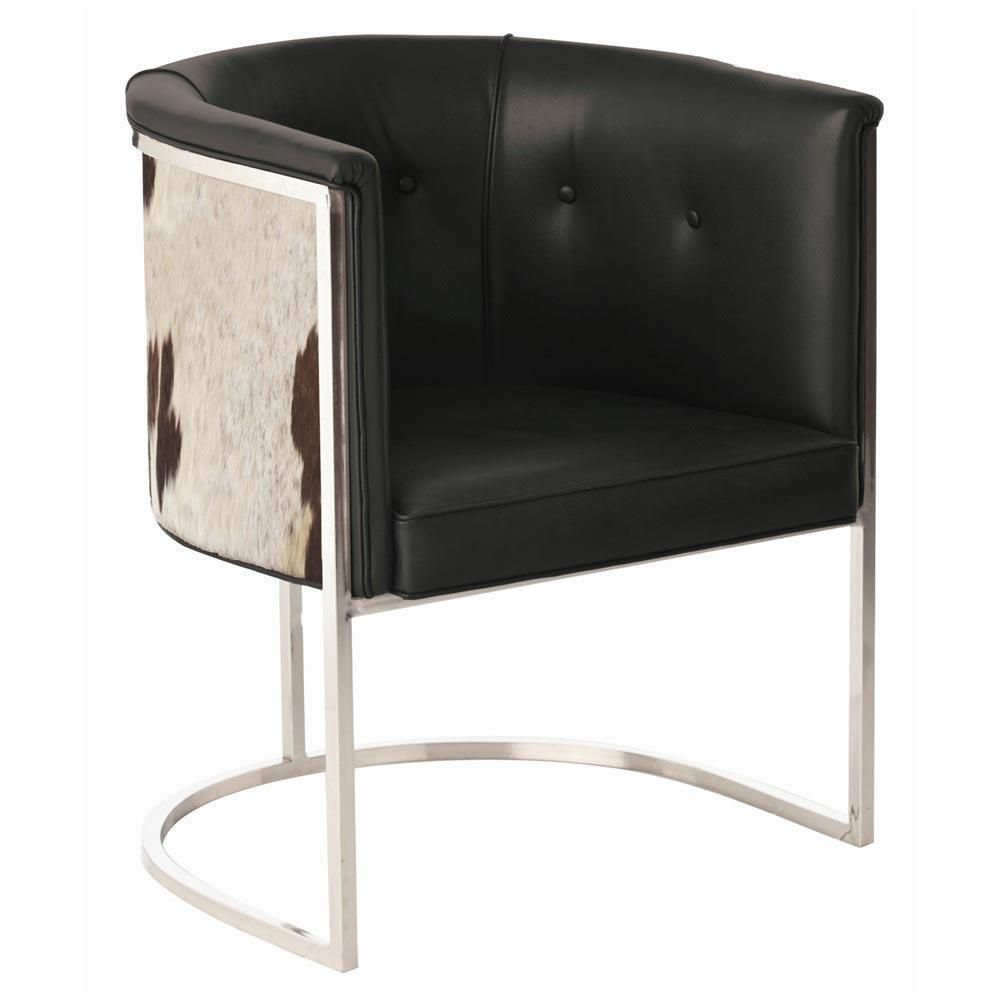 Cantilevered Chrome Dining Chairs Real Cowhide Tufted Black Leather