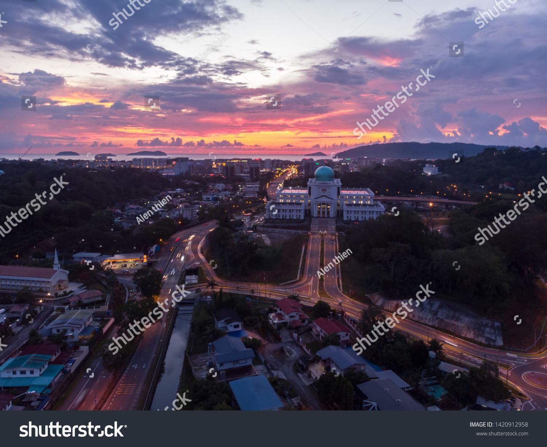 Aerial Image Of New Court Complex Building Of Kota Kinabalu Sabah During Twilight Sunset Sponsored Sponsored Complex B Aerial Images Aerial Stock Photos