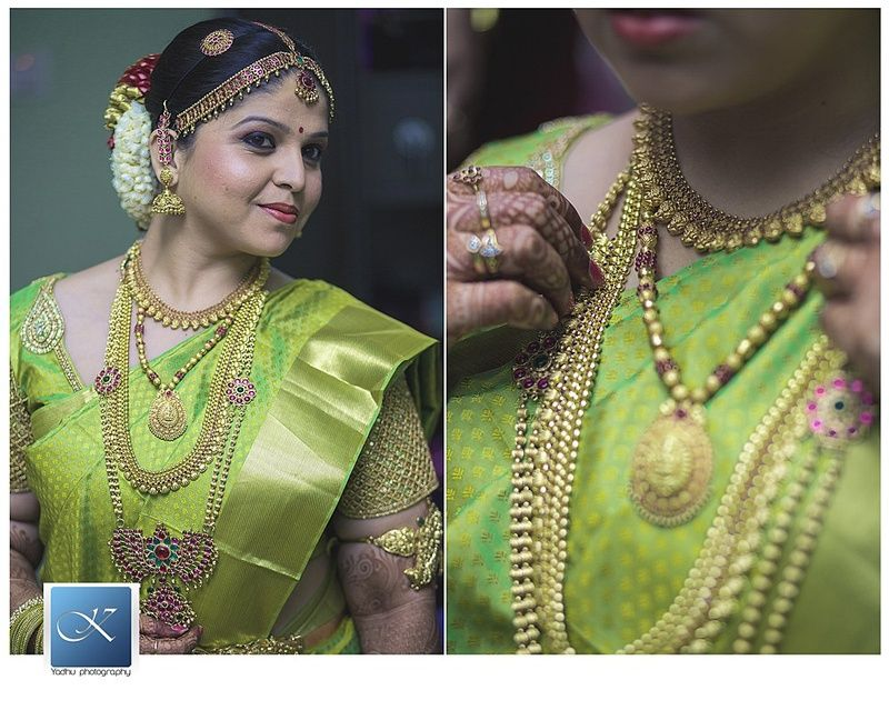 Parrot green kanjivaram saree with gold weaves and layers of south ...