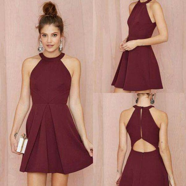Homecoming Dress, Short Burgundy Halter Neck A Lin