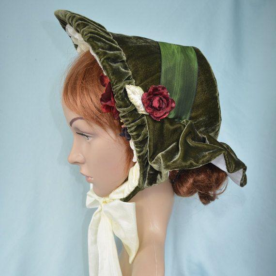 Victorian Style Hats Dickens Fair Approved Green Velvet Bonnet  135.00 AT  vintagedancer.com 985823abf6a
