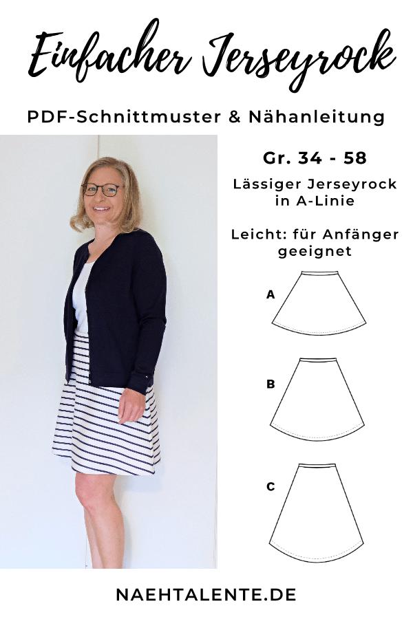 Photo of Nähanleitung einfacher Jerseyrock für Damen | Schnittmuster Gr. 34 – 48 | Nähtalente