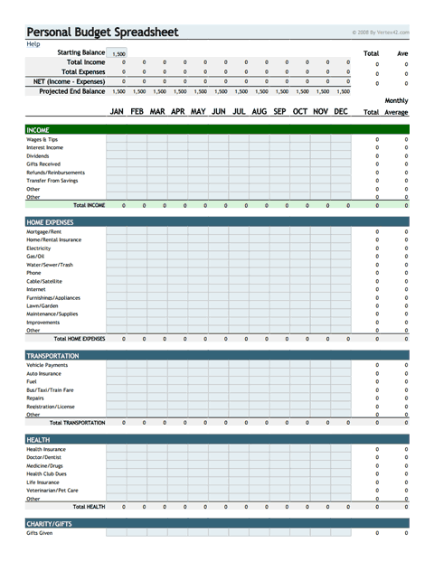 Download The Personal Budget Spreadsheet From VertexCom