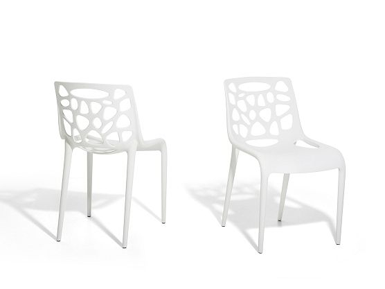 White and modern garden chair https://www.beliani.ch/stuehle ...