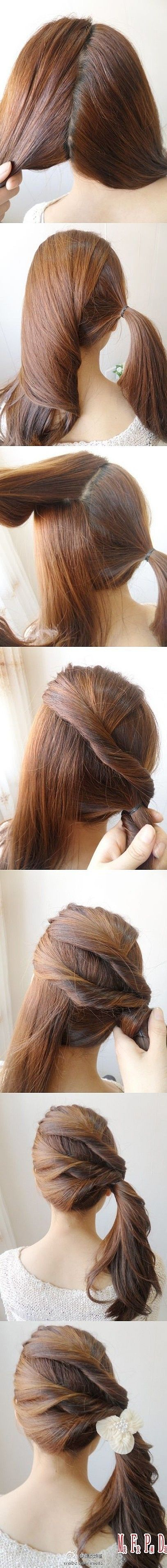 Wow this is cool and easy hair style hair pinterest side