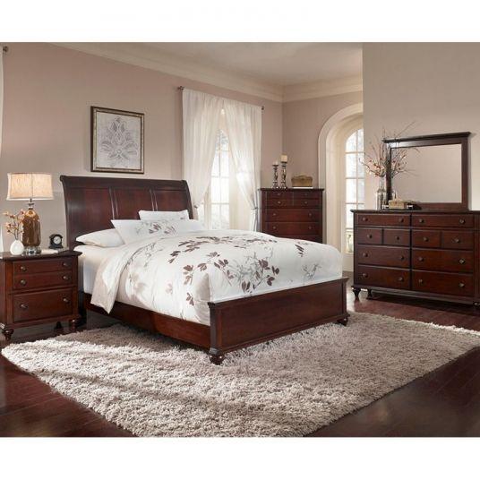 Dark Cherry Sleigh Bed Broyhill Hayden Place Furniture Alpine