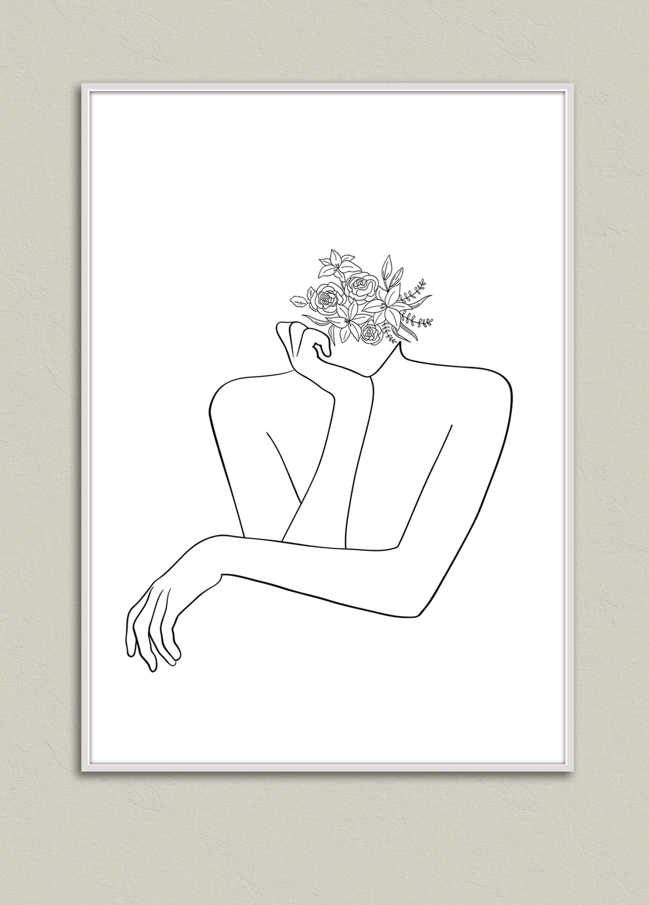 Head Of Flowers Art Woman Outline Drawing Woman With Etsy Outline Drawings Face Outline Outline Art