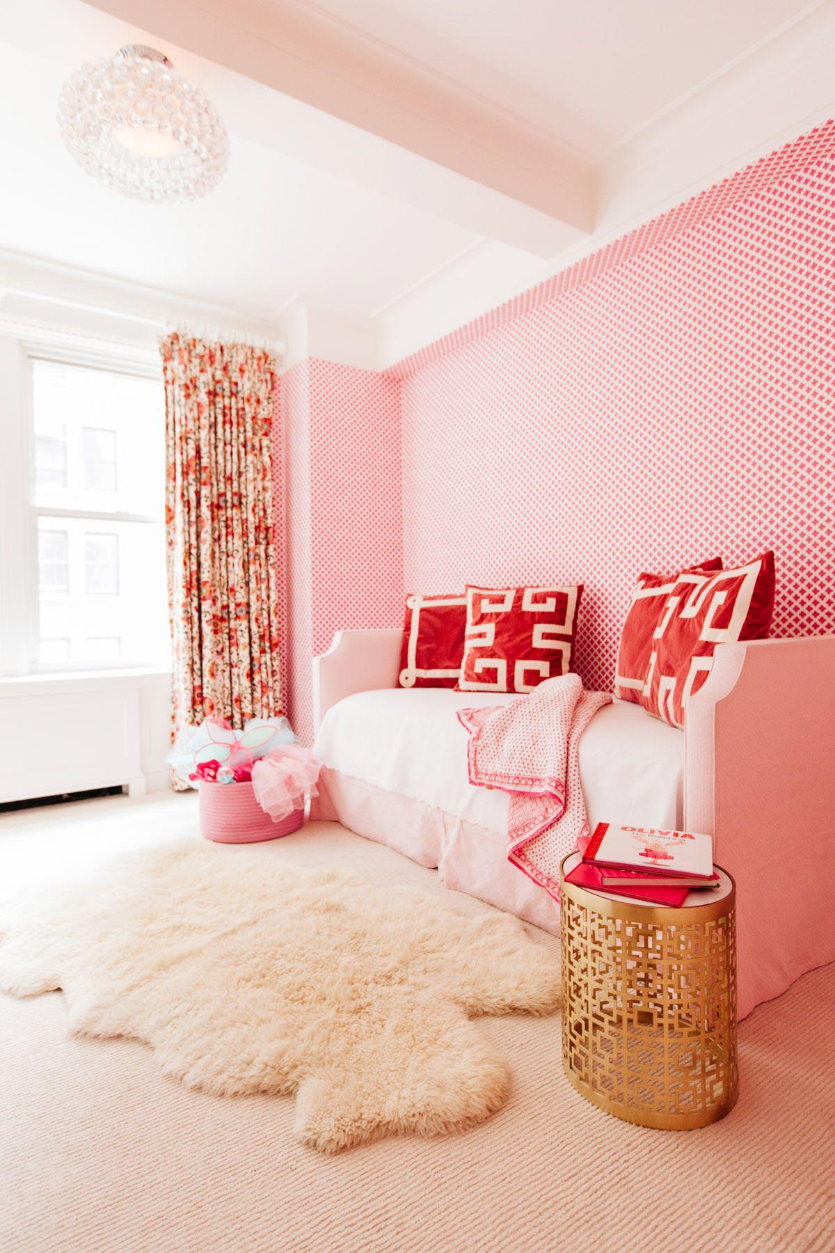 pretty fresh deluxe kids bedroom design | Park Avenue | Lindsey Lane Design pinks, reds, gold ...