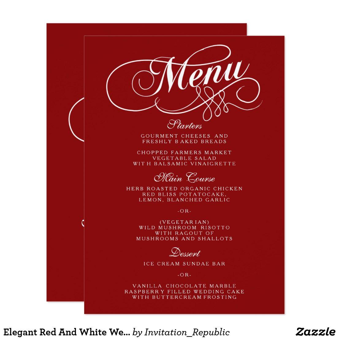 Elegant Red And White Wedding Menu Templates   Wedding : Menu Cards ...
