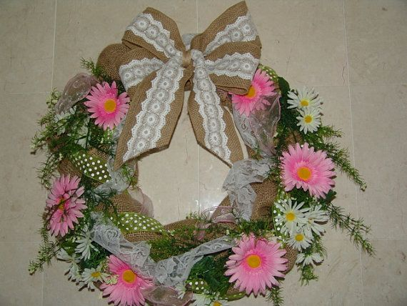 I'm in love with this!  A great Mother's Day gift! Romantic Shabby Chic  Burlap Wreath Great by ShoppeBlingaling, $50.00