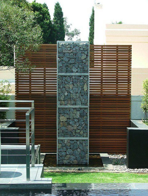Exterior Designideen Beispiele Für Moderne Gartengestaltung Sichtschutz  Gabione