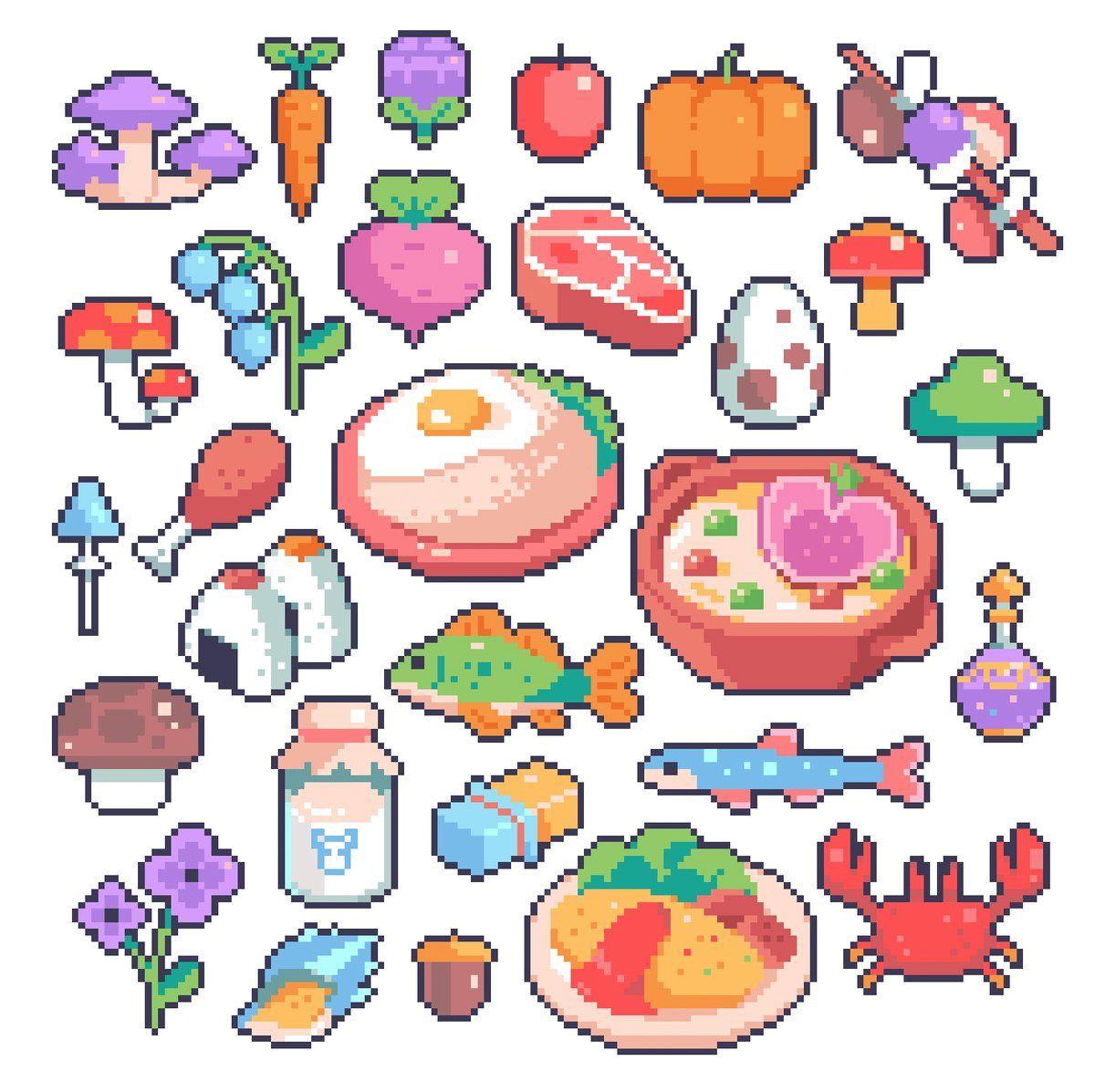 Karina Dehtyar On In 2020 Anime Pixel Art Pixel Art Food Pixel