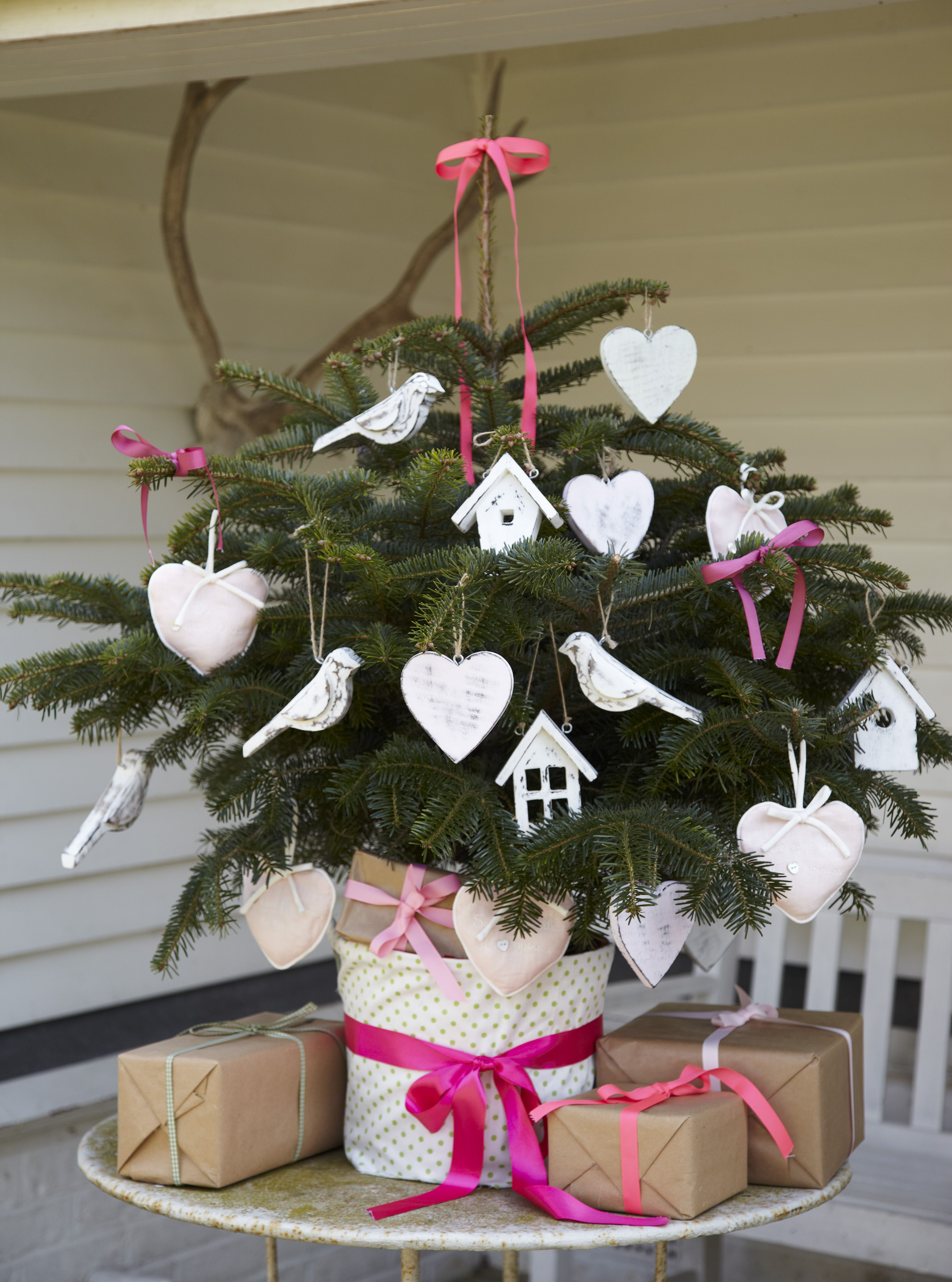 A girly Christmas with distressed white and soft pink decorations!