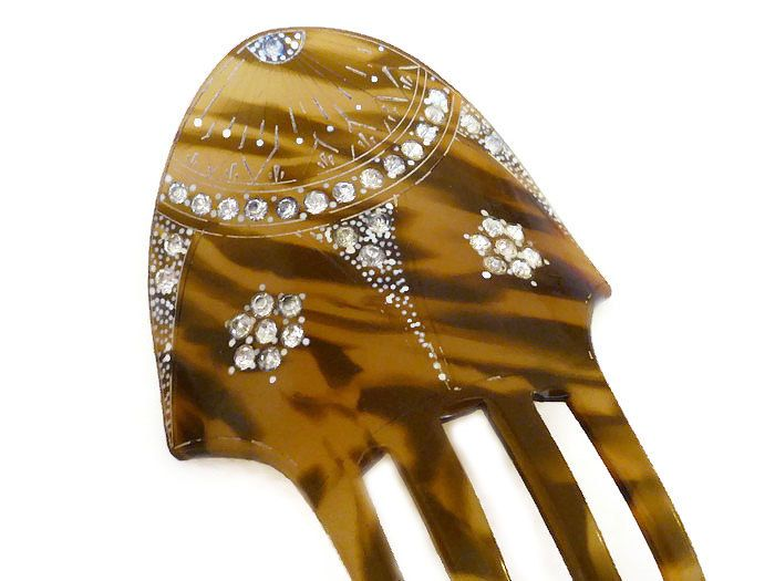 Art Deco Hair Comb, Tortoise Celluloid, Clear Rhinestone, Hand Painted, Hair Accessories, Decorative Comb, Vintage Fashion