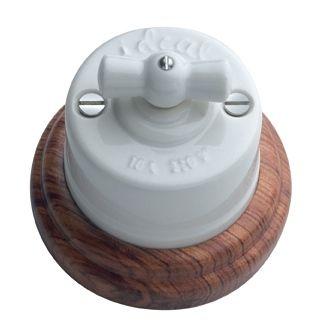 Interruptor conmutador de porcelana y madera retro interruptores porcelana mecanismos - Interruptores clasicos ...