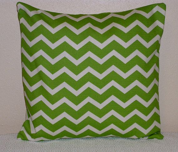 """Home decor Decorative Pillow Cover - 16"""" pillow cover - Green Chevron pillow - chevron accent pillow - Green and White pillow cover on Etsy, $10.00"""