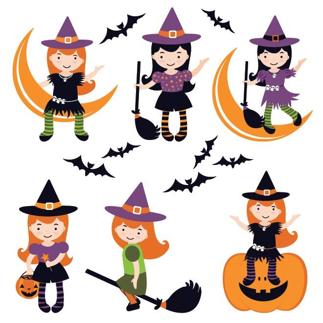 vector cute girl wearing witch costume in different style sitting on rh pinterest com halloween vector images halloween vector files
