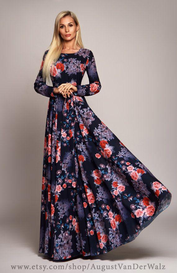 76415a7c25b148 Dunkel blau Floral-Maxi-Kleid lange Ärmel von AugustVanDerWalz ...