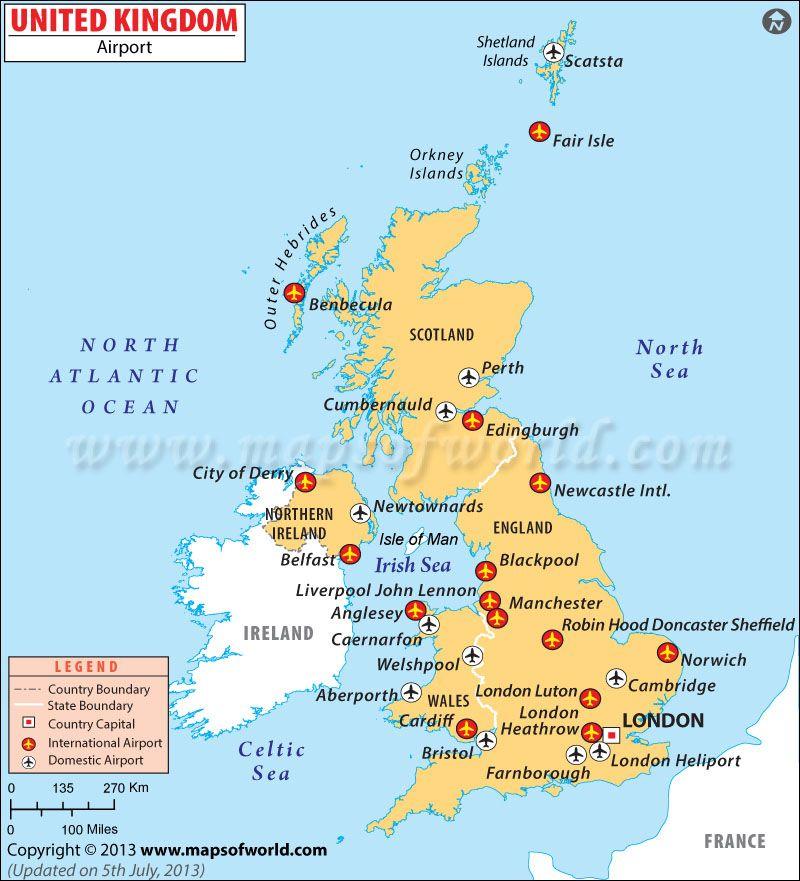 UK Airports Map Airport map, Map of britain, California