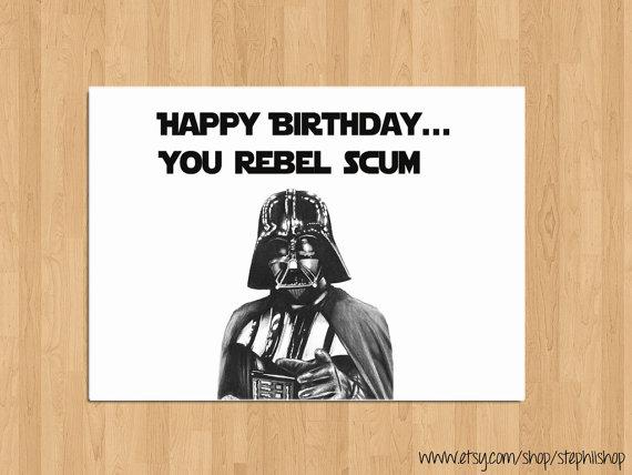 Funny Happy Birthday Star Wars Card By StephiiShop 350