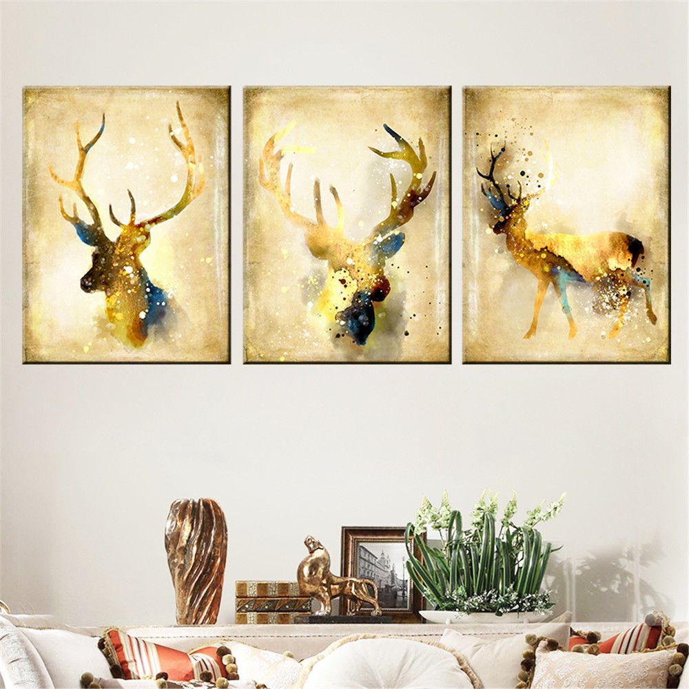 Christmas Watercolor Animal Deer - 3 Panels Canvas Painting Wall Art ...