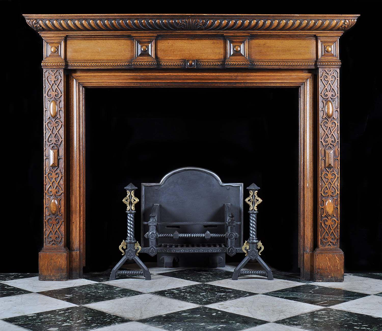 Arts and crafts mantel - Antique Carved Oak Arts And Crafts Fireplace Mantel Art Nouveau