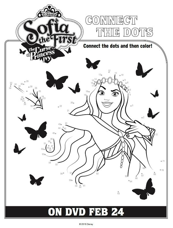 Disney Sofia The First Curse Of Princess Ivy Connect The Dots Coloring Page Mama Likes This Connect The Dots Coloring Pages Sofia The First