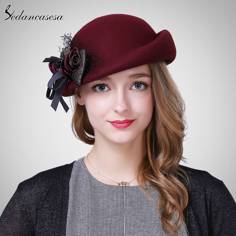 Female Cute England British Australian Wool Felt Beret Hat Women Lady  French Artist Red Black Khaki Flat Cap Bow Boina Feminino 4bb939e999af